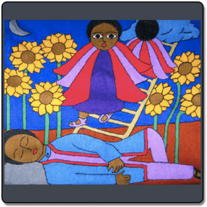 Jacob sleeping on a stone as depicted in Ethiopian Jewish art.