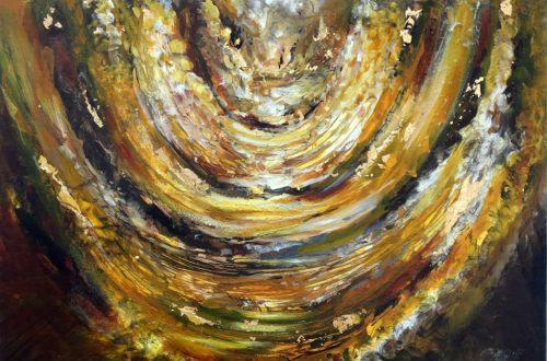 gold menorah painting